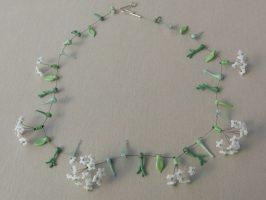 weiße Dolden | 1 Str. Glas, Stahlseil, Silber | 130797-14