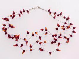 Hütchen dunkelrot-orange | 4 Stränge, Glas, Stahlseil, Silber | 100888-16