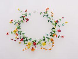 bunte Blüten | offene Struktur, Glas, Stahlseil, Silber | 260864-16