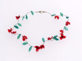 Dreiecksblüten rot-türkis, gehäkelt | 1-reihig, Glas, Stahlseil, Silber | 080711-13