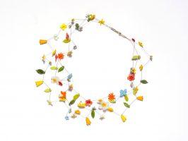 Blüten hell | 3 Str., Glas, Stahlseil, Silber | 180895-16