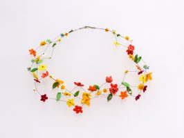 bunte Blüten | 3 Str., Glas, Stahlseil, Silber | 170896-16