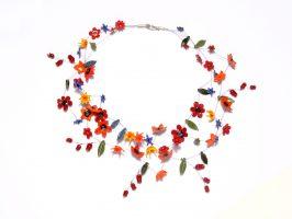 bunte Blüten dunkel | 3 Str.+A, Glas, Stahlseil, Silber | 200682-12