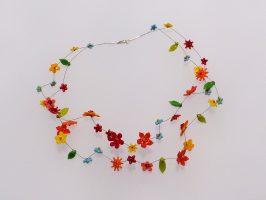 bunte Blüten | 2 Str., Glas, Stahlseil, Silber | 130892-16
