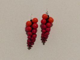 Ohrhänger Kugeln verlaufend rot-orange | Glas, Silber | 060811-15