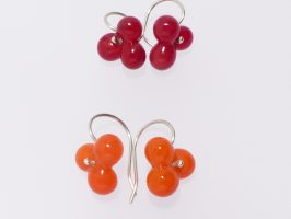 Ohrhänger Kugeln 3er, rot u. orange | Glas, Silber | 030875-15