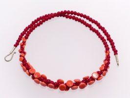 Plättchen nur vorne, rot, lachs | 1-reihig, Glas, Stahlseil, Silber | 055843a-16