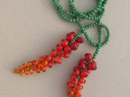 Aronstab, rot-orange verlaufend, lang | Offene Enden zum Knoten, Glas, Stahlseil
