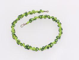 Octopus unregelmäßig apfelgrün | 1-reihig, Glas, Stahlseil, Silber | 123563-10