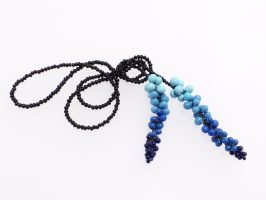 Kugeln verlaufend blau, lang | Offene Enden zum Knoten, Glas, Stahlseil