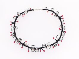 Schüsselchen schwarz-weiß-rot | 1-reihig, Glas, Stahlseil, Silber | 180853-16