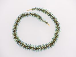 Pünktelwurm rundrum, oliv-bl.-gr.-transp. | 1-reihig, Glas, Stahlseil, Silber | 220880-16