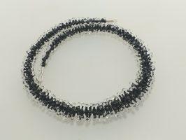 Pünktelwurm rundrum schwarz-transp. | 1-reihig, Glas, Stahlseil, Silber | 195858b-16