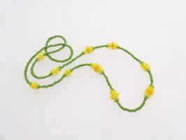 Bommel gelb-grün, lang | 1-reihig, Glas, Stahlseil | 110883-16