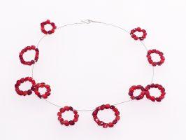 Kreise aus roten Ecken | 1-reihig, Glas, Stahlseil, Silber | 095887-16