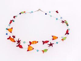 bunte Fische | 2 Str. Glas, Stahlseil, Silber | 125033-00