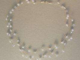 Miniblüten weiß-transparent | 3 Str. Glas, Stahlseil, Silber | 120752-14