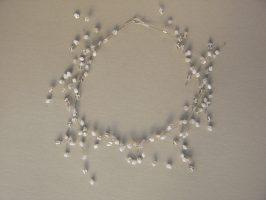 Weiße u. transparente Ecken offen | offene Struktur, Glas, Stahlseil, Silber | 140060-14