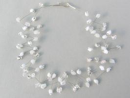 Weiße u. transparente Ecken zickzack | 2 Str. Glas, Stahlseil, Silber | 080756-14