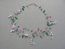 rosa Sternblüten und Maiglöckchen | 2 Str.+A, Glas Stahlseil, Silber | 160537-09