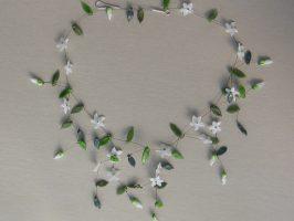 Sternblüten weiß | offene Struktur, Glas, Stahlseil, Silber | 120796-14
