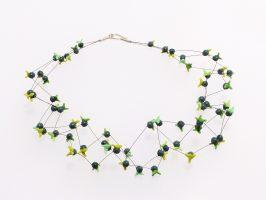 Kaktus graublau + grüntöne | 4 Stränge, Glas, Stahlseil, Silber | 100890-16