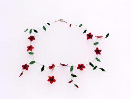 Sternblüten rot-schwarz | 1 Str.+ A, Glas, Stahlseil, Silber | 110869-16