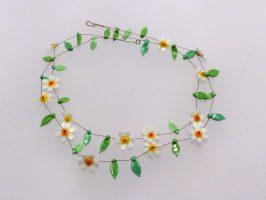 Blüten weiß-gelb | 2 Str., Glas, Stahlseil, Silber | 120894-16