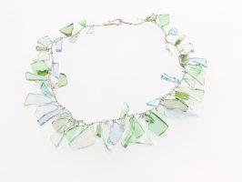 helle Scherben dicht gehäkelt | 1-reihig, Glas, Stahlseil, Silber | 160438-14