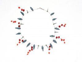 Beeren rot-orange | 1 Str.+ A, Glas, Stahlseil, Silber | 125575-09
