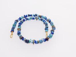 Ringerl Blautöne mit Gold | 1-reihig, Glas, Stahlseil, Silber goldplatiert | 140842b-16