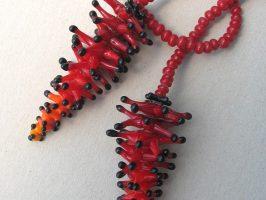 Pünktelwurm mit Farbverlauf, kurz | Offene Enden zum Knoten, Glas, Stahlseil