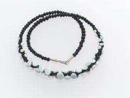 Plättchen nur vorne, schwarz-weiß | 1-reihig, Glas, Stahlseil, Silber | 055843d-16