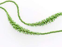Pünktelwurm grün-mint 2er lang | 1-reihig, Glas, Stahlseil | 110815-16