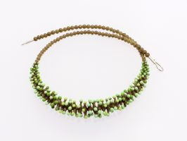 Pünktelwurm nur vorne oliv-mint | 1-reihig, Glas, Stahlseil, Silber | 070882-16