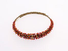 Pünktelwurm nur vorne oliv-rot-orange | 1-reihig, Glas, Stahlseil, Silber | 070882f-16