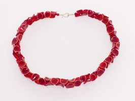Tintenfisch rot-lachs | 1-reihig, Glas, Stahlseil, Silber | 210855-16