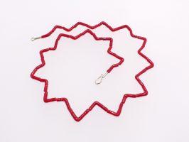 Walzen zickzack rot | 1-reihig, Glas, Stahlseil, Silber | 100886-16