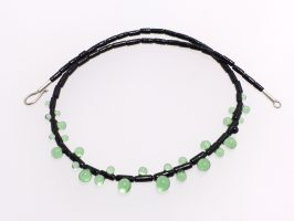 Walzen mit Tautropfen vorne schwarz-grün | 1-reihig, Glas, Stahlseil, Silber | 070885a-16