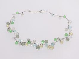 Kugeln transparent, grau-grün-gelb gehäkelt | 1-reihig, Glas, Stahlseil, Silber | 110884a-16
