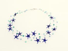 Seesterne blau | 3 Str., Glas, Stahlseil, Silber | 125872-16