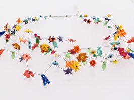 kleine bunte Blüten | 4 Str. Glas Stahlseil, Silber | 220959-17