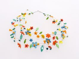 bunte Blüten hell | 4 Str. Glas, Stahlseil, Silber | 220861-16