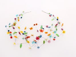 kleine bunte Blüten | 4 Str. Glas Stahlseil, Silber | 210907-17