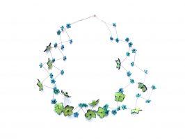 Sternblüten mint mit dunkelblau | 2 Str. zickzack, Glas, Stahlseil, Silber | 090713-17