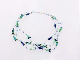kleine blau-türkise Fische | 3 Str., Glas, Stahlseil, Silber | 195908-17