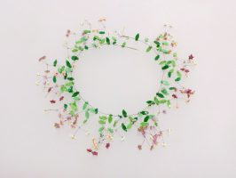 Miniblüten rosa | offen verzweigt, Glas, Stahlseil, Silber | 225177-18