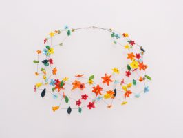 bunte Blüten | 4 Str., Glas, Stahlseil, Silber | 220938-18