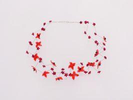 rot-orange Kreuzblüten | 2 Str. zickzack, Glas, Stahlseil, Silber, 110828-15