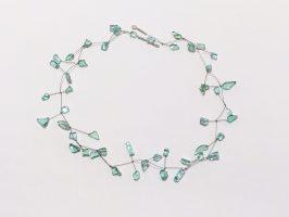 türkise Heckscheibenstückchen | Wippe, Glas, Stahldraht, -seil, Silber | 130915-17